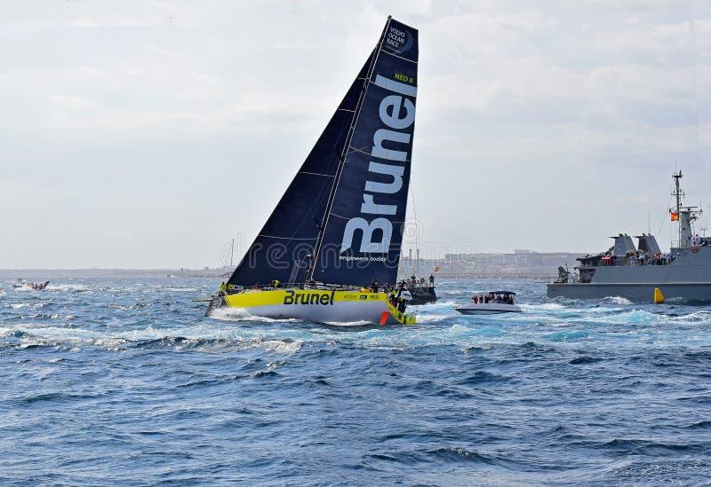 Team Brunel Passes A Warship Volvo Ocean Race Alicante stock image