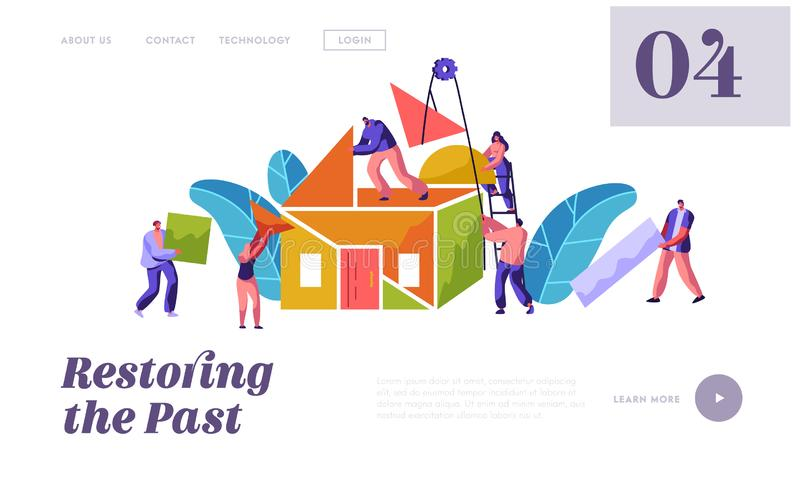 Team Builder Construction Home Website Template. Man and Woman Carry Part Material for Building. People in Process Installation stock illustration
