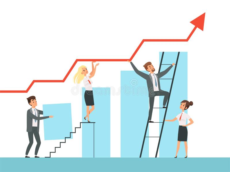 Team building. Business managers growth up stairs to their mentor leader vector concept characters vector illustration