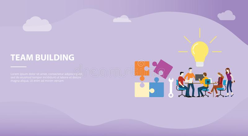 Team building concept with big word text and puzzle with team people office company for website template or landing homepage stock illustration