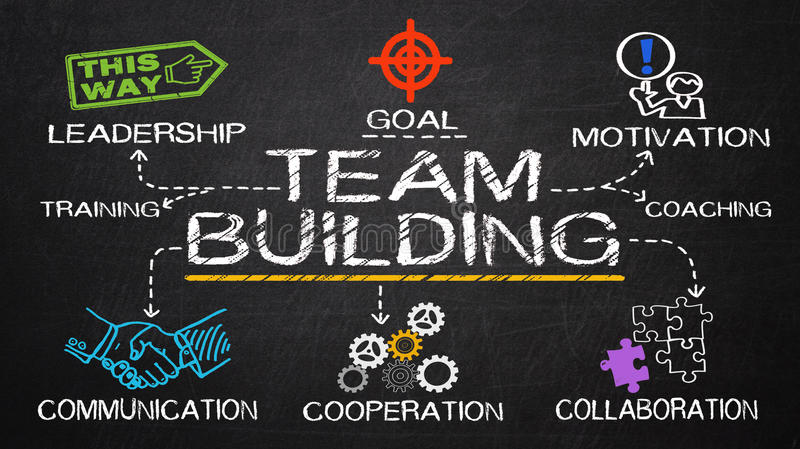 Team building concept. Drawn on blackboard royalty free stock photos
