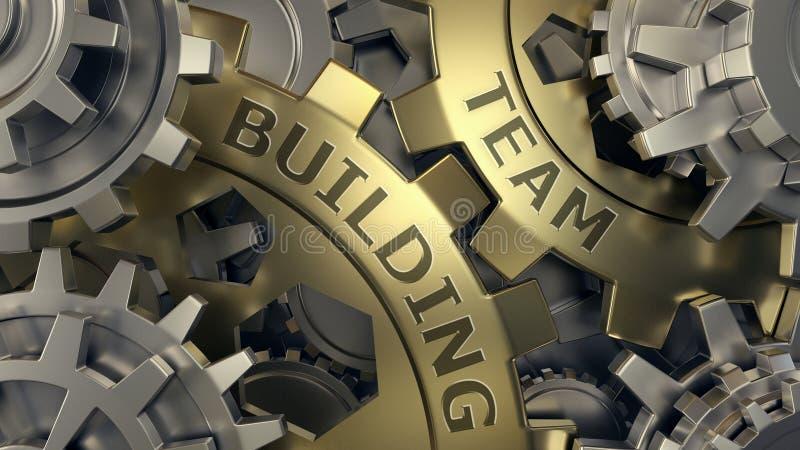 Team building concept - Gold and silver gear weel background illustration. 3d render. Close-up. Team building concept - Gold and silver gear weel background stock illustration