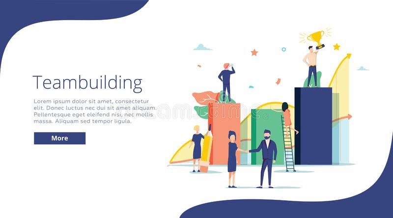 Team building concept illustration, perfect for web design, banner, mobile app, landing page, vector flat design. Team work, cooperation of businessmen and royalty free illustration