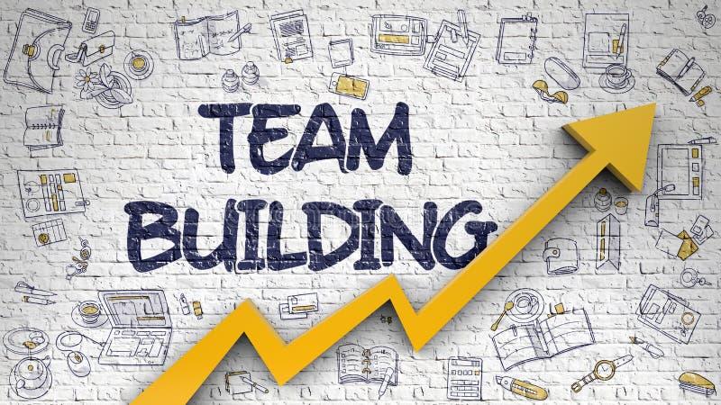 Team Building Drawn en Brickwall blanco ilustración del vector