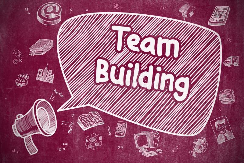 Team Building - ejemplo del garabato en la pizarra roja stock de ilustración