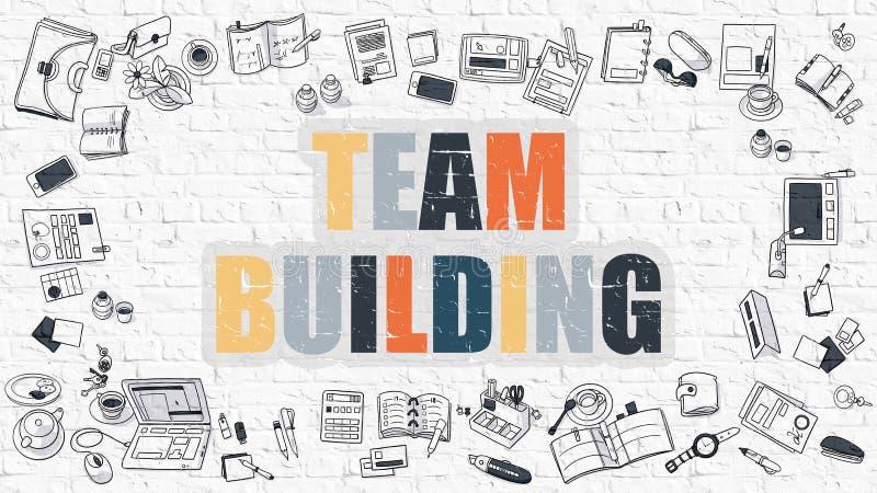 Team Building en la pared de ladrillo blanca libre illustration