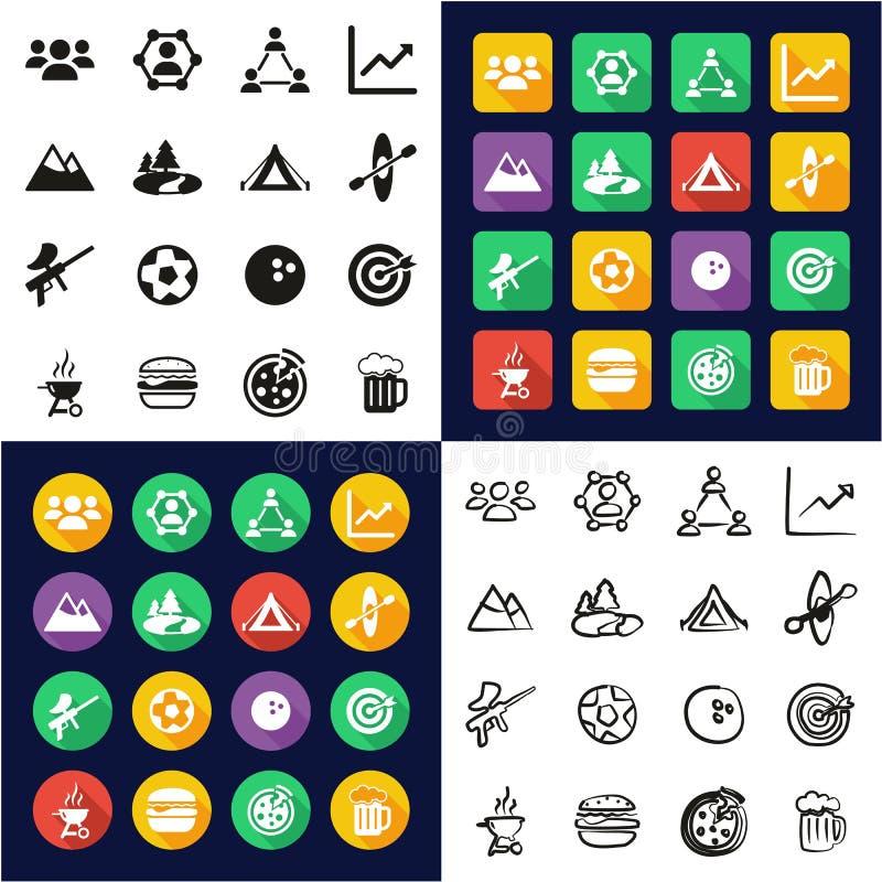 Team Building Icons All in den Ikonen eine schwarz u. weißer im Farbflacher Entwurfs-freihändigen Satz lizenzfreie abbildung