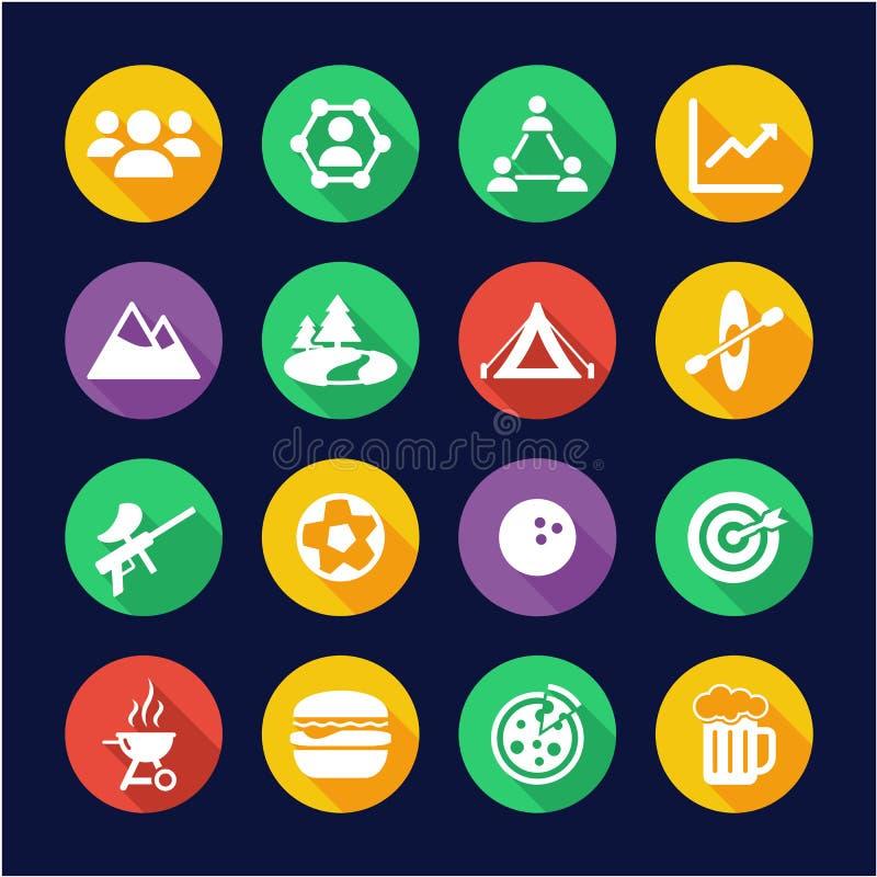Team Building Icons Flat Design-Kreis stock abbildung
