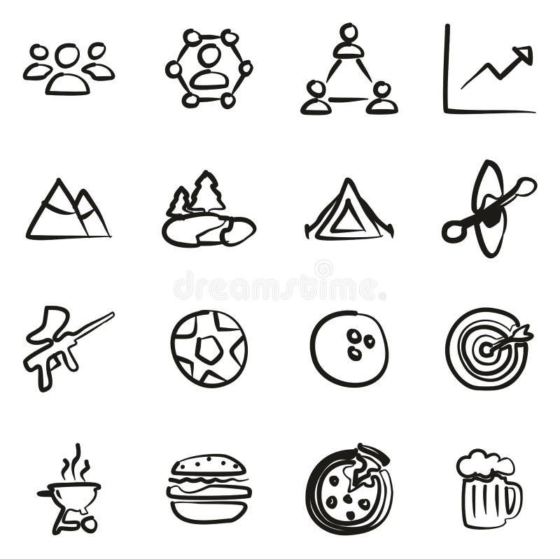 Team Building Icons Freehand vektor abbildung