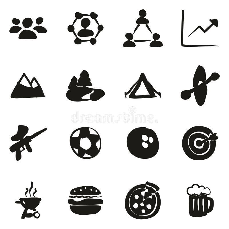 Team Building Icons Freehand Fill illustration de vecteur