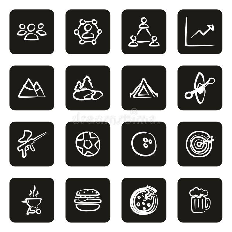 Team Building Icons Freehand White auf Schwarzem lizenzfreie abbildung