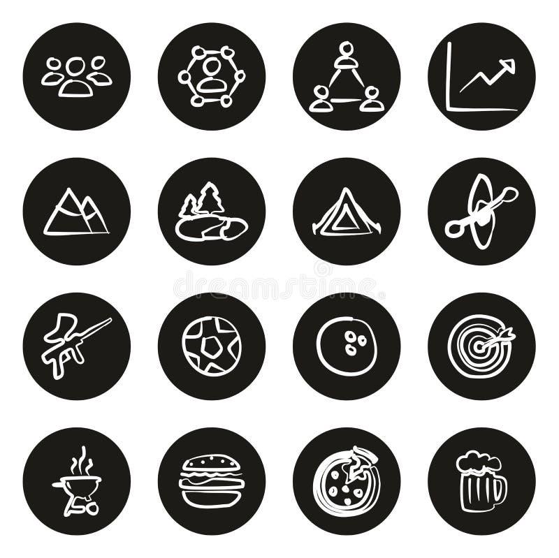 Team Building Icons Freehand White en círculo negro libre illustration