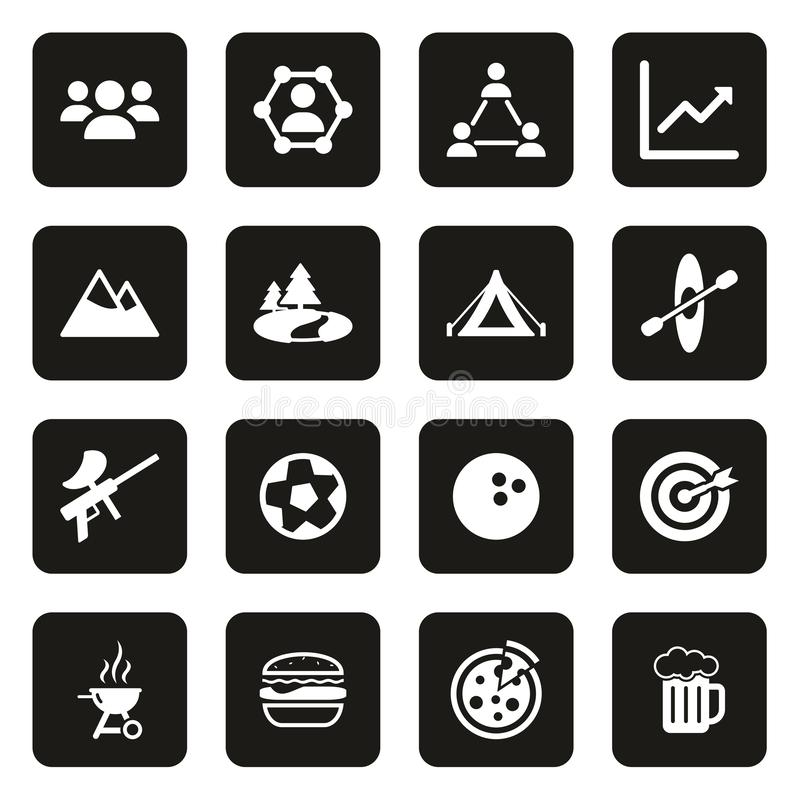 Team Building Icons White On-Schwarzes lizenzfreie abbildung