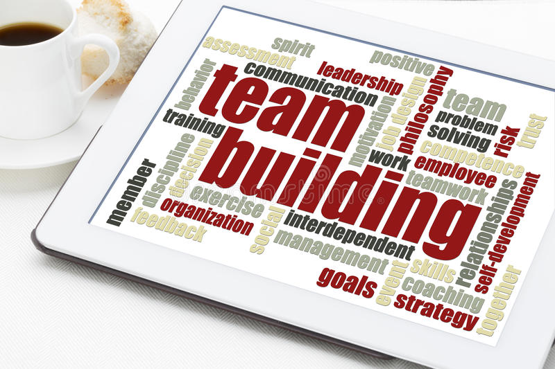 Team building word cloud royalty free stock photos