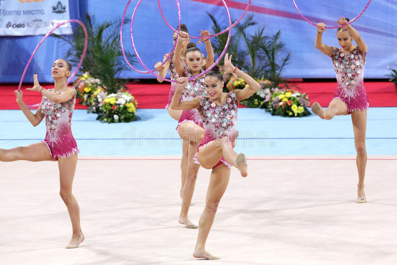 Team Bulgaria Rhythmic Gymnastics arkivbilder