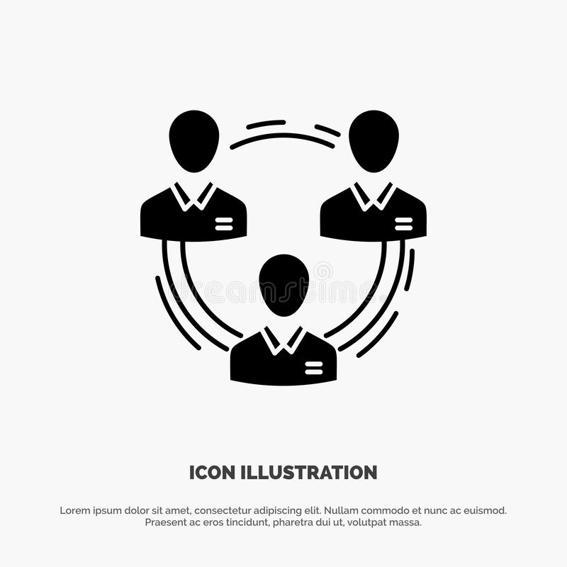 Team, Business, Communication, Hierarchy, People, Social, Structure solid Glyph Icon vector royalty free illustration