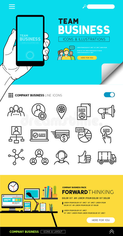 Team Business Concepts und Ikonen stock abbildung