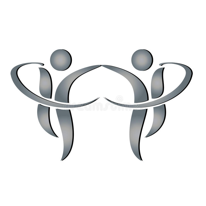 Team business figures logo. Team business figures shaking hands logo royalty free illustration