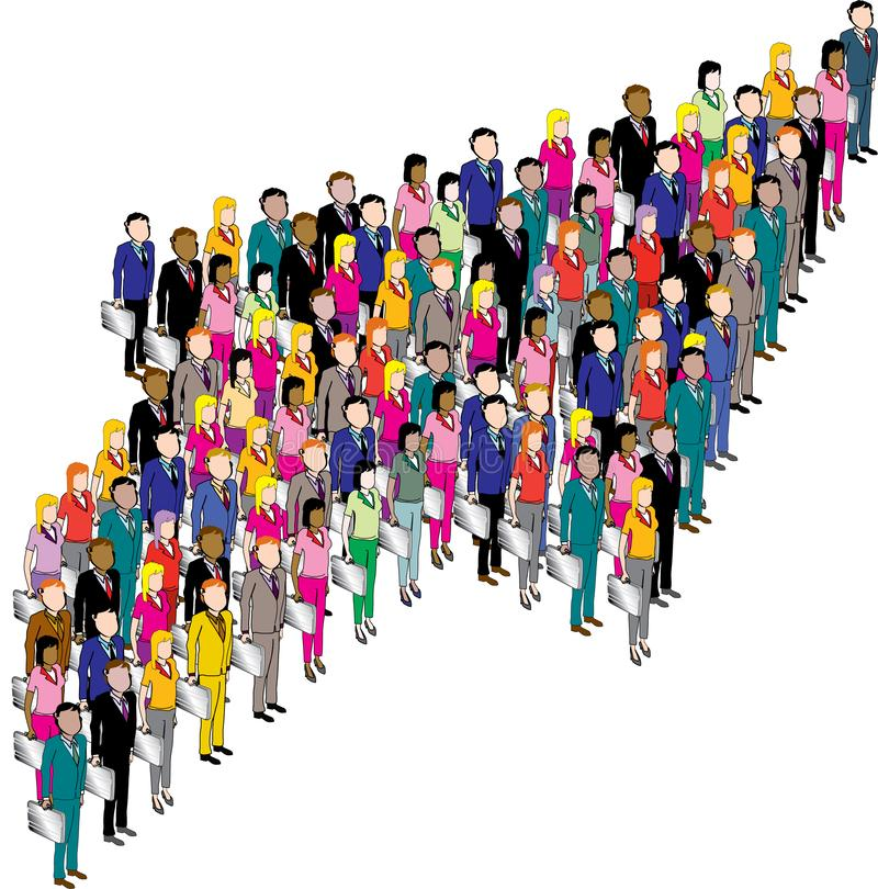 Team Of Business People Is Formed In The Shape Of An Arrow vector illustration
