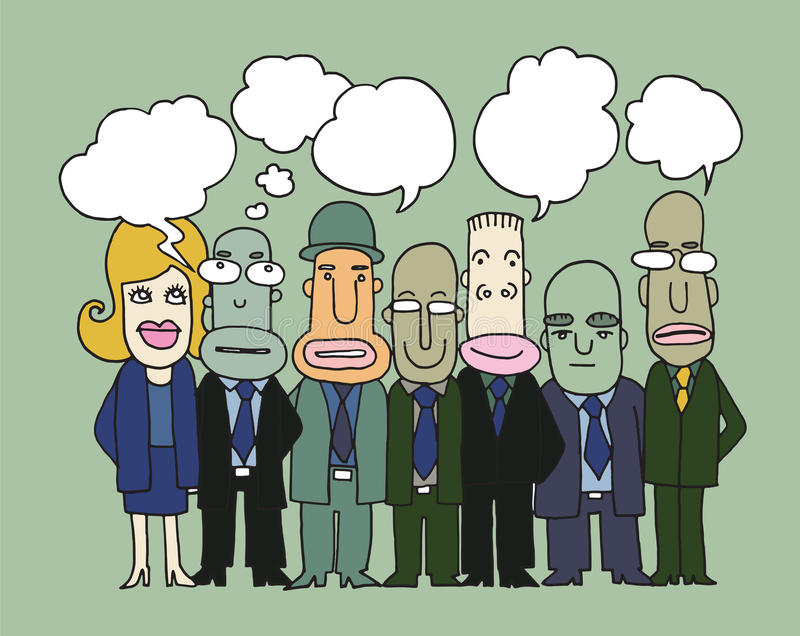 Team of business people stand and talk in speech bubbles vector illustration