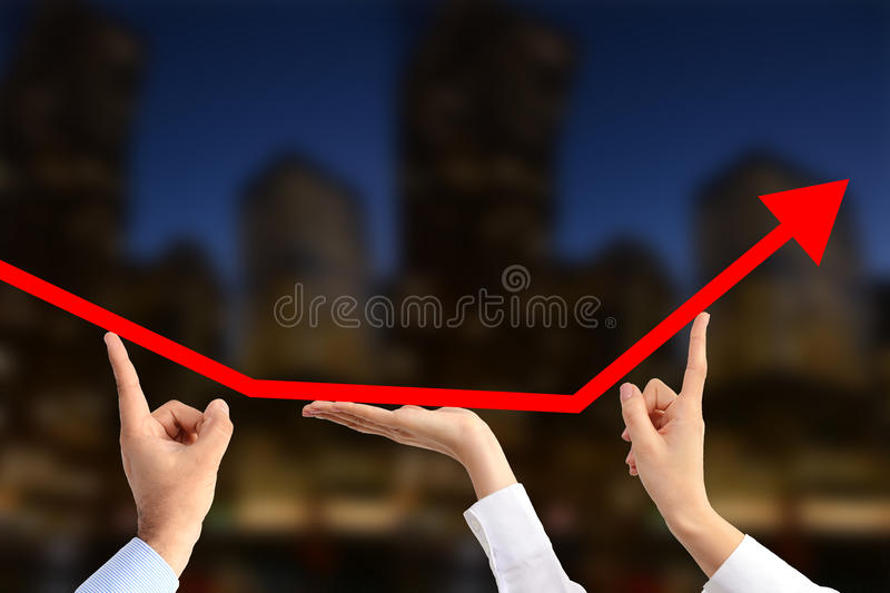 Team of business people working together for economic growth stock photography