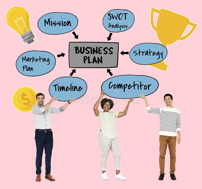 Team with a business plan royalty free stock photography