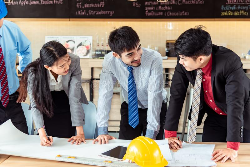 Team of Businessman /engineering in construction renovate building site. Engineer/architect inspection workplace for project. royalty free stock photos