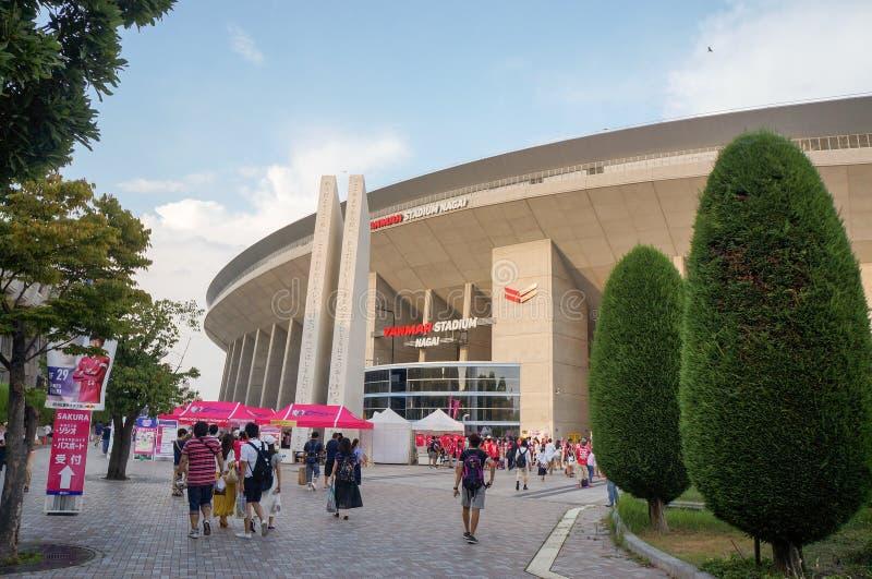 Team Cerezo Osaka Soccer lockert das Gehen zum Spiel an Yanmar-Stadion Nagai, Osaka Japan auf lizenzfreie stockfotos