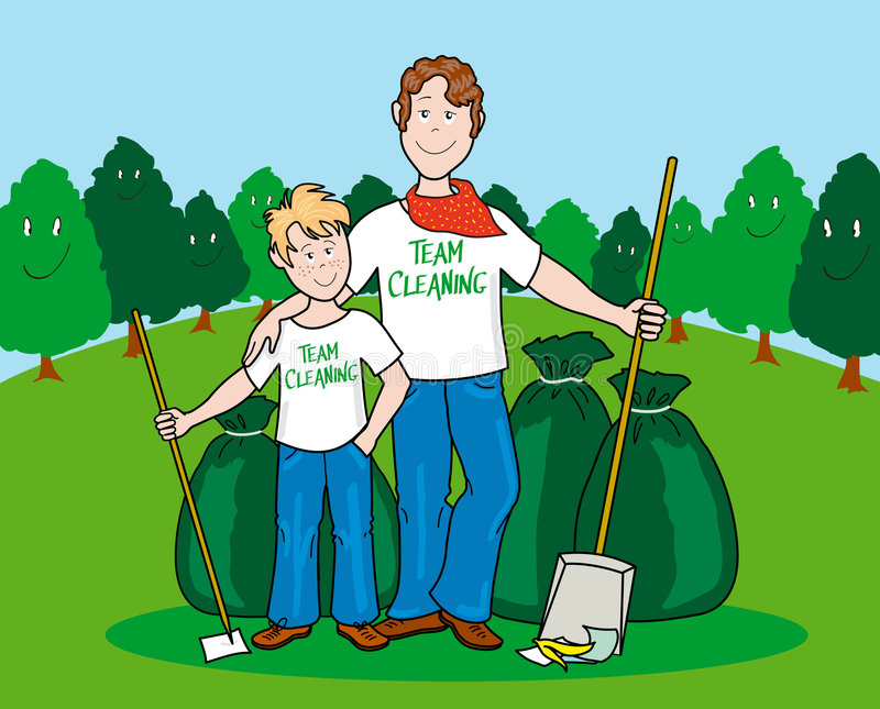 Team cleaning. Illustration that shows father and son proud of their work cleaning in a wide green area. Plants in the background humanize smile as a sign of
