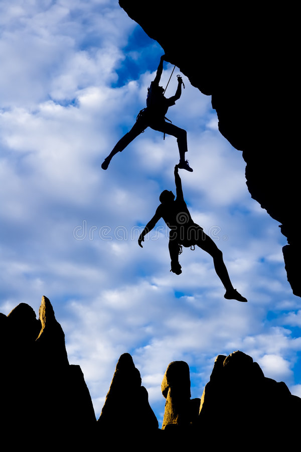 Team of climbers in danger. stock photo