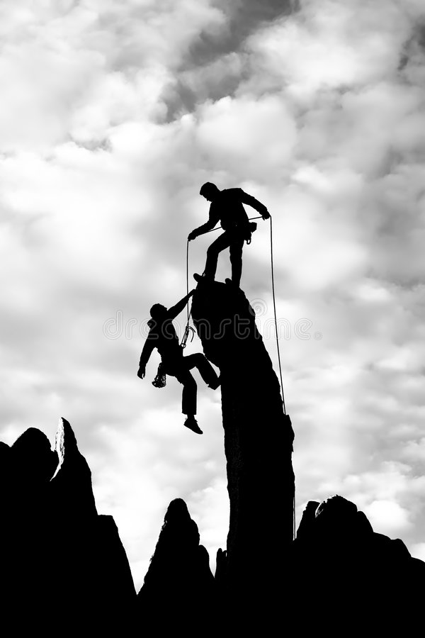 Download Team Of Climbers Reaching The Summit. Stock Image - Image: 7501001