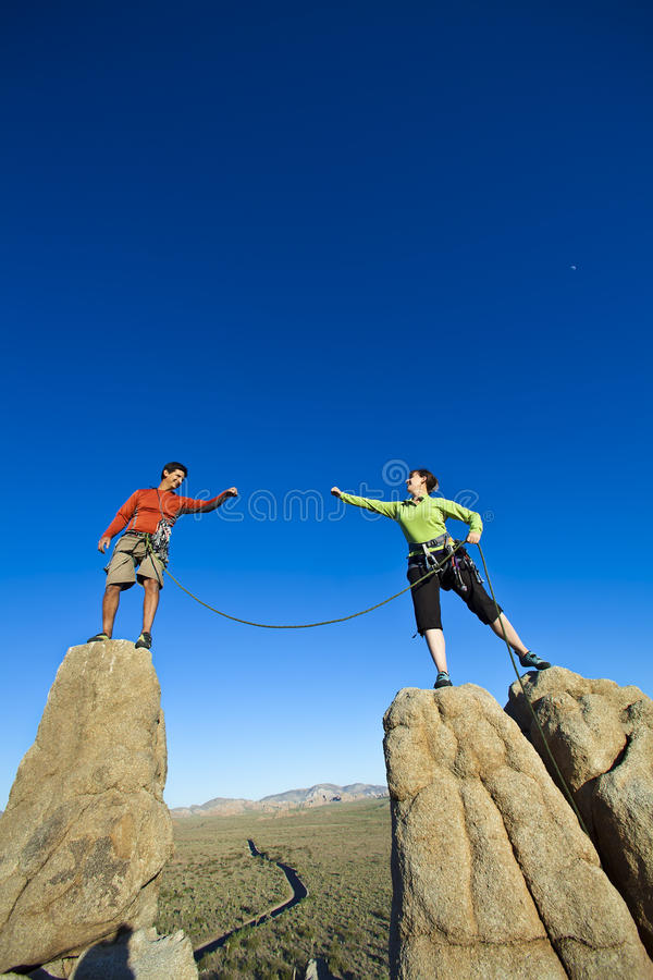 Download Team Of Climbers On The Summit. Royalty Free Stock Photography - Image: 15209117
