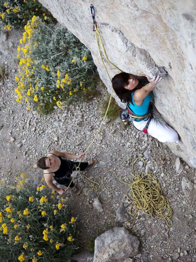Team of climbers royalty free stock photography