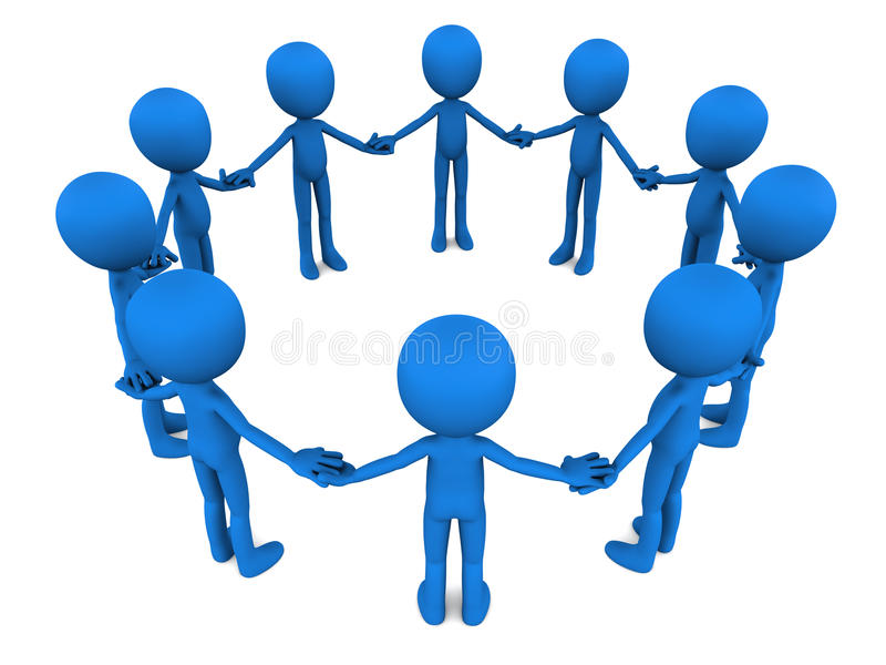 Team collaborate. Team circle of blue men figure holding hand on white background, concept of society and team cooperation stock illustration