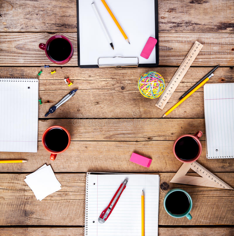 Team collaboration concept. Business planning with coffee and office supplies royalty free stock image