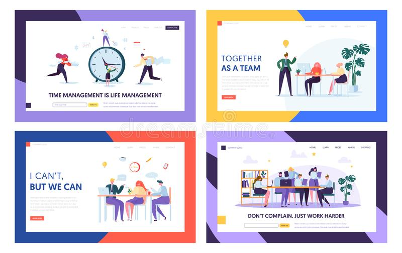 Team Collaboration Start Project Landing Page. Set. People Sign Work Contract. Successful Agreement of Business Cooperation Concept for Website or Web Page Flat stock illustration