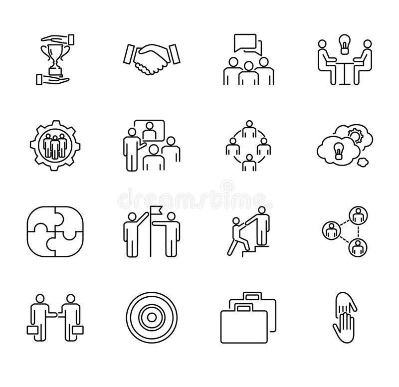 Team collaboration vector illustration collection set. Outlined icons with people cooperation, working together and job meeting. stock illustration