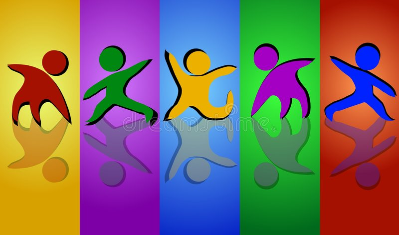 Team Colors. An abstract design of a colorful team in different poses isolated on a striped colorful background vector illustration