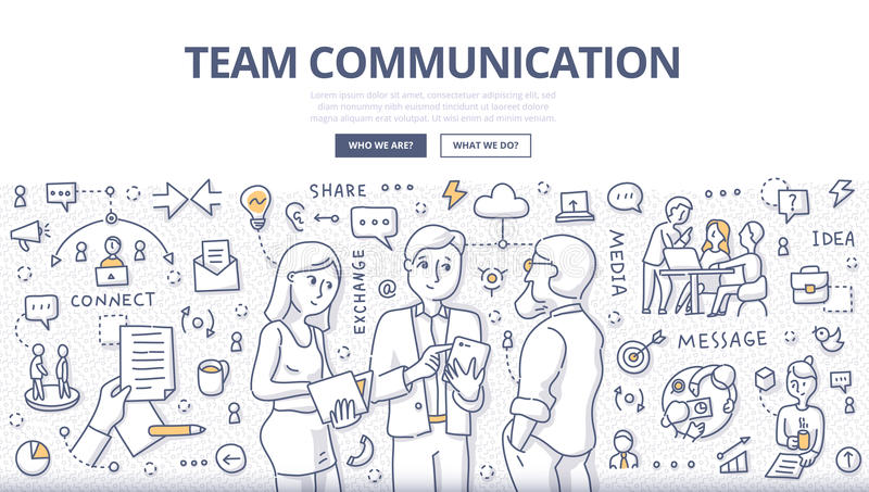 Team Communication Doodle Concept royalty-vrije illustratie