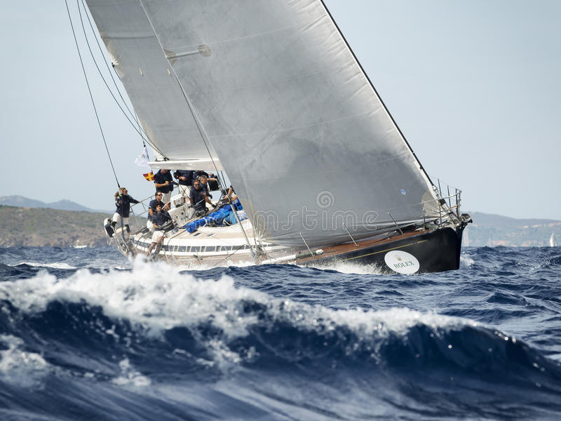 team competing on Maxi Yacht Rolex Cup sail boat race in Sardinia royalty free stock photos
