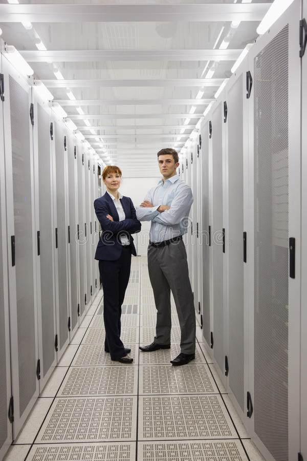 Team of computer technicians smiling at camera stock image