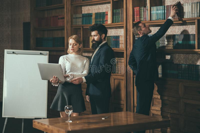 Team concept. Group of people train in team building and using technology. University debate team. Successful business royalty free stock images