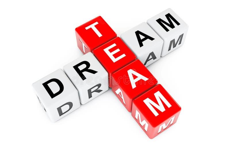 Team Concept rêveur Signe comme blocs de mots croisé rendu 3d illustration de vecteur