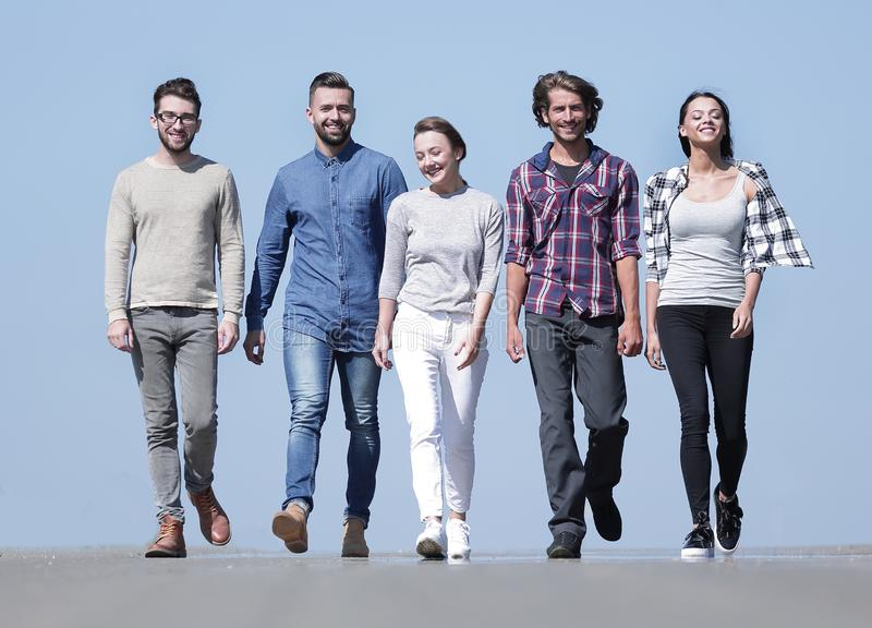 Team of confident friends go ahead royalty free stock photography