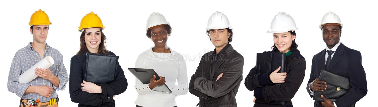 Team of construction workers royalty free stock images