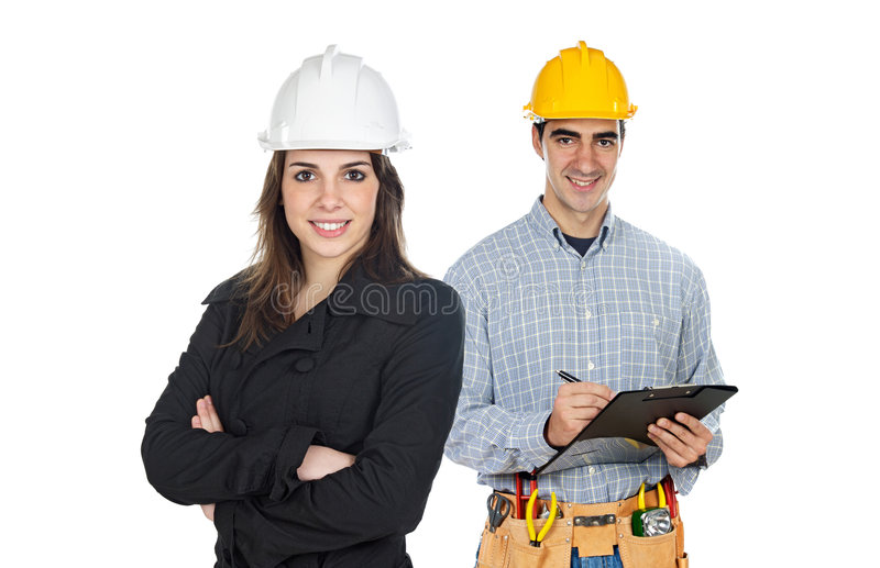 Team of construction workers stock photo