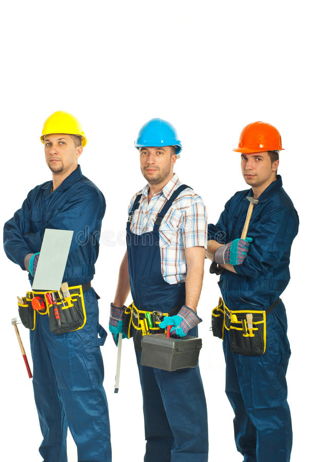 Team of constructor workers men