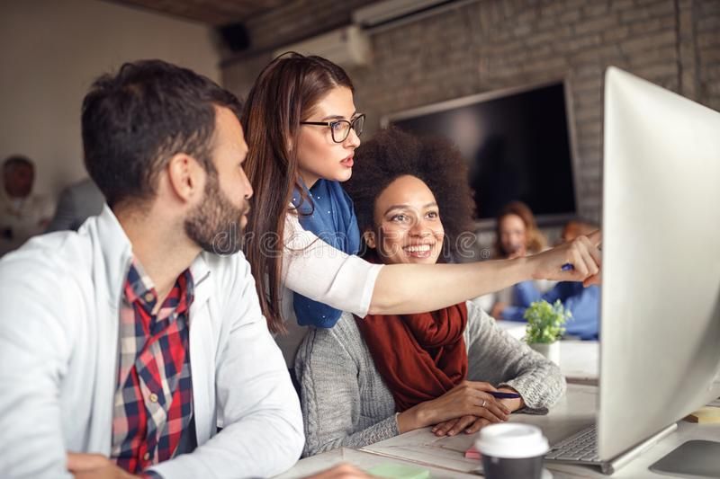 Team of creative people having a business meeting stock photos