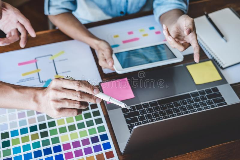 Team of Creative Web/Graphic Designer planning, drawing website ux app for mobile phone application and development template. Layout, process to developing royalty free stock image