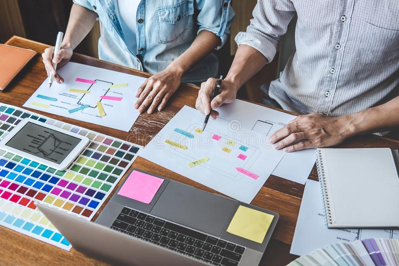 Team of Creative Web/Graphic Designer planning, drawing website ux app for mobile phone application and development template. Layout, process to developing stock images